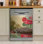 Domesticated Hedgehog Letter Floral Dishwasher Cover Sticker Kitchen Decor