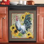 Country Time Rooster Sunflower Dishwasher Cover Sticker Kitchen Decor
