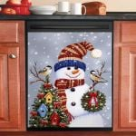 Snowman With Wreath Dishwasher Cover Sticker Kitchen Decor