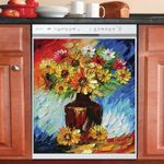 Daisies Flower Multicolor Dishwasher Cover Sticker Kitchen Decor