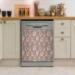Cute Golden Retriever Pattern Dishwasher Cover Sticker Kitchen Decor