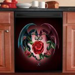 Dragon Red And Blue Pattern Dishwasher Cover Sticker Kitchen Decor