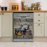 Time Spent With Guitar Books And Wine Is Never Wasted Dishwasher Cover Sticker Kitchen Decor