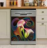 Dynamic Floral 4 Cala Lillies Pattern Dishwasher Cover Sticker Kitchen Decor
