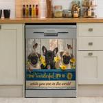 Dog Wonderful Life Pattern Dishwasher Cover Sticker Kitchen Decor