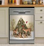 Deer And Christmas Tree Red Cardinal Bird Dishwasher Cover Sticker Kitchen Decor