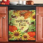 Welcome Fall Pumpkins And Leaves Dishwasher Cover Sticker Kitchen Decor