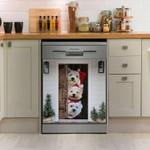 West Highland White Terrier Hello Christmas Pattern Dishwasher Cover Sticker Kitchen Decor