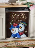 Snowman You And Me Pattern Dishwasher Cover Sticker Kitchen Decor