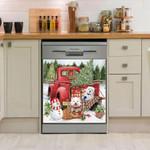 West Highland White Terrier Merry And Bright Days Pattern Dishwasher Cover Sticker Kitchen Decor