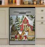 Three Horses Snowy Day Dishwasher Cover Sticker Kitchen Decor