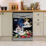 Christmas Dog White Dishwasher Cover Sticker Kitchen Decor
