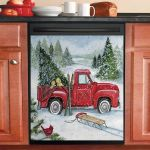 Snowy Ski Truck Dishwasher Cover Sticker Kitchen Decor