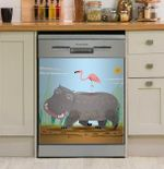 The Hippo And The Flamingo Dishwasher Cover Sticker Kitchen Decor