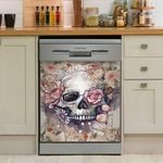 Skull Roses Floral Dishwasher Cover Sticker Kitchen Decor