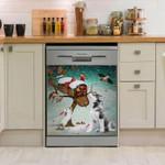 Siberian Husky Present From Santa Pattern Dishwasher Cover Sticker Kitchen Decor