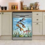 Dragonfly Water Colot Dishwasher Cover Sticker Kitchen Decor