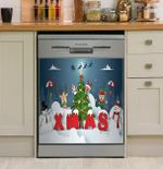 Xmas Playing With Snow Pattern Dishwasher Cover Sticker Kitchen Decor