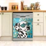 Dalmatian Act Cool Floral Dishwasher Cover Sticker Kitchen Decor