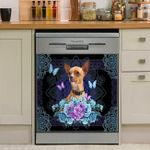 Chihuahua Blue Floral Mandala Dishwasher Cover Sticker Kitchen Decor