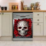 Skull Silver Dishwasher Cover Sticker Kitchen Decor