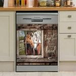 Farm Horse Through Window Dishwasher Cover Sticker Kitchen Decor