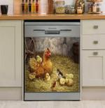 Chicken Hen And Her Chicks Dishwasher Cover Sticker Kitchen Decor