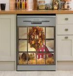 Fall Window View Dishwasher Cover Sticker Kitchen Decor