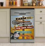 Cow Farm House Rules Dishwasher Cover Sticker Kitchen Decor