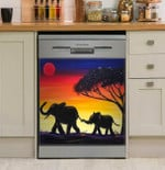 Elephant Sunset Painting Dishwasher Cover Sticker Kitchen Decor