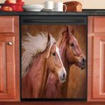 Couple Brown Horse Dishwasher Cover Sticker Kitchen Decor