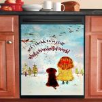 What A Wonderful World Cute Girl And Dog Dishwasher Cover Sticker Kitchen Decor