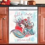 Christmas Holiday Holly Jolly Little Mermaid Dishwasher Cover Sticker Kitchen Decor