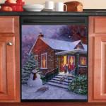 Snowman And Little Children At Christmas Dishwasher Cover Sticker Kitchen Decor
