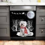 Westie Is Watching The Snow Pattern Dishwasher Cover Sticker Kitchen Decor