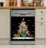 Slo Ho Ho Christmas Tree Black Background Dishwasher Cover Sticker Kitchen Decor