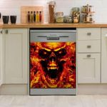 Skull Red Fire Awesome Pattern Dishwasher Cover Sticker Kitchen Decor