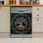 Tree Of Life Spotted Pattern Dishwasher Cover Sticker Kitchen Decor