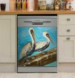 Two Pelicans On Dock Rail Dishwasher Cover Sticker Kitchen Decor