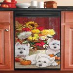 Sweet Westie Fall Flowers Dishwasher Cover Sticker Kitchen Decor