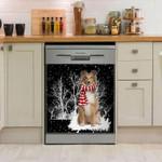 Shetland Sheepdog Golden Snowy Night Pattern Dishwasher Cover Sticker Kitchen Decor