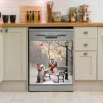Shih Tzu Winter Day Dishwasher Cover Sticker Kitchen Decor