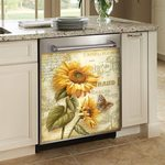 Sunflower Butterfly Letter Vintage Dishwasher Cover Sticker Kitchen Decor