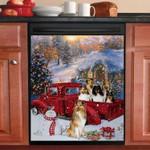 Shetland Sheepdog Red Car Christmas Pattern Dishwasher Cover Sticker Kitchen Decor