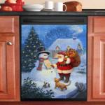 Snowman Dear Santa Christmas Dishwasher Cover Sticker Kitchen Decor