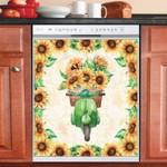 Sunflower drive Bike Vintage Dishwasher Cover Sticker Kitchen Decor