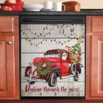 Vintage Red Truck Santa Claus Dashing Throught The Snow Dishwasher Cover Sticker Kitchen Decor