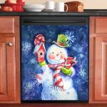 Snowman And Cardinal Dishwasher Cover Sticker Kitchen Decor