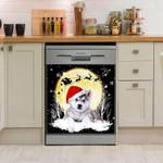 Siberian Husky Under Snow Moon Dishwasher Cover Sticker Kitchen Decor