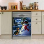 Dachsund And Snowman Dishwasher Cover Sticker Kitchen Decor